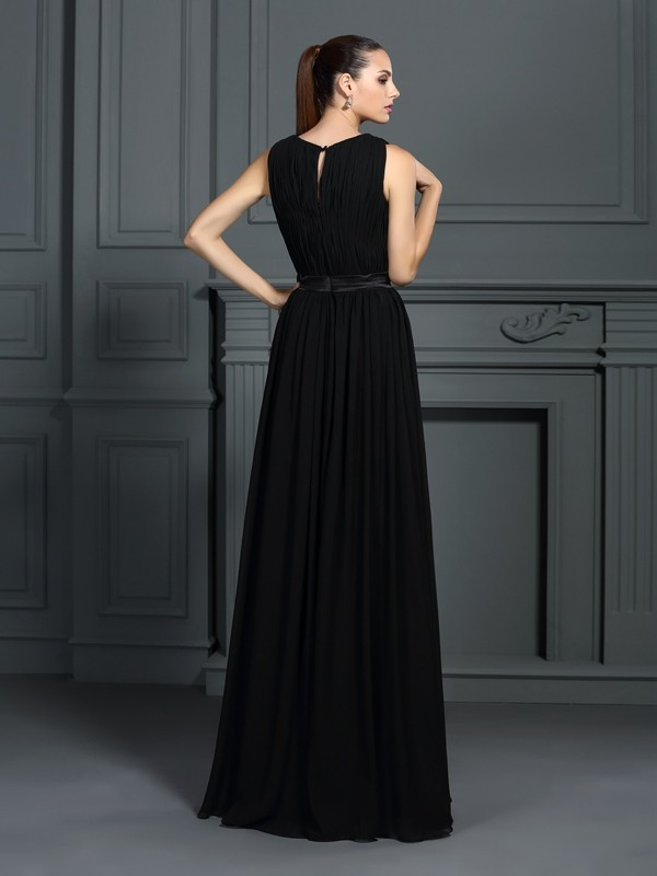 Gorgeous A-Line Scoop Sleeveless Long Chiffon Dress