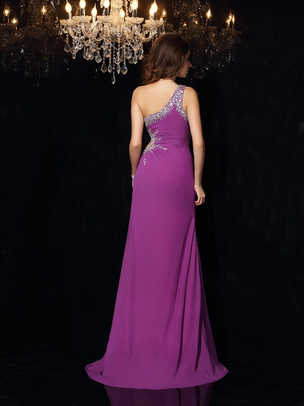 Unique Sheath One-Shoulder Sleeveless Long Chiffon Dress