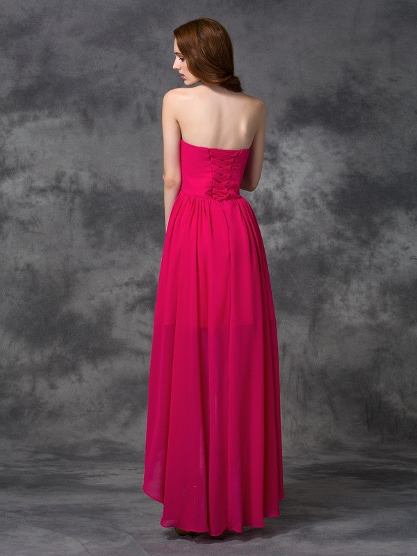 Unique A-Line Sweetheart Sleeveless High Low Chiffon Bridesmaid Dress