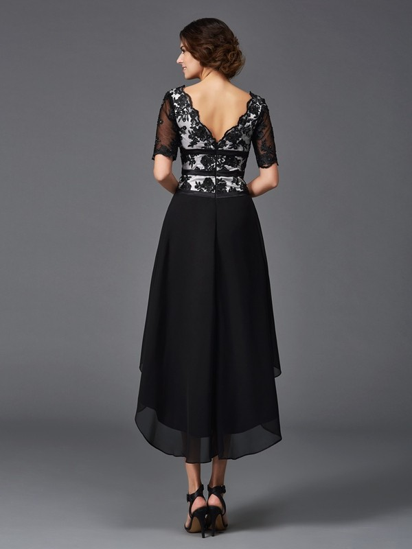 Unique A-Line V-neck Lace 1/2 Sleeves High Low Chiffon Dress