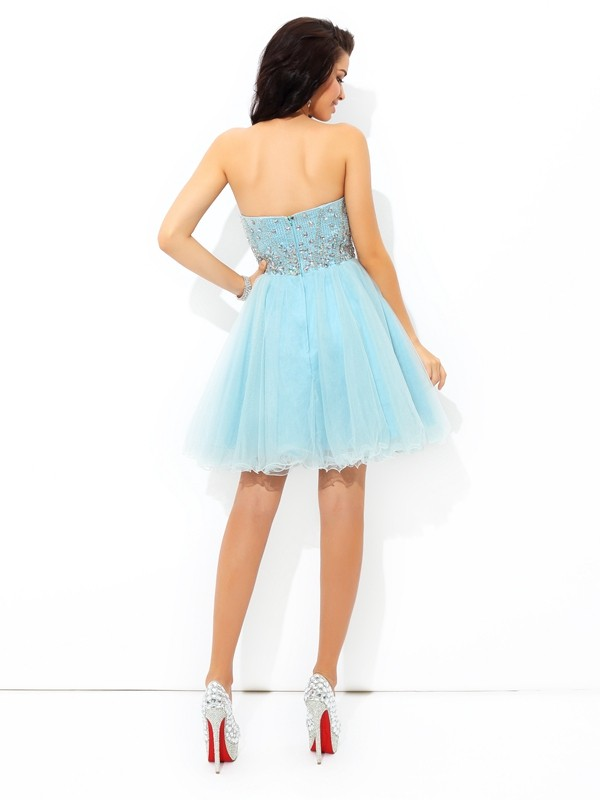 Unique A-Line Sweetheart Short Sleeveless Satin Cocktail Dress