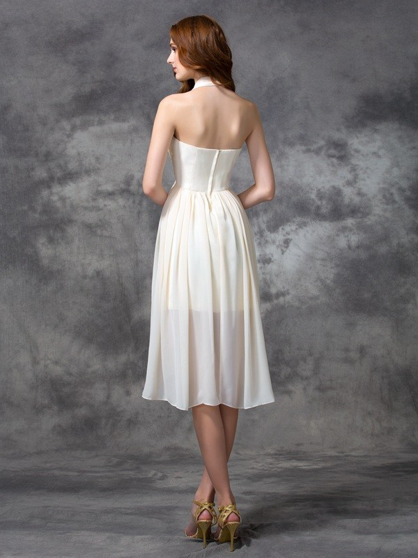 Unique A-Line Halter Sequin Sleeveless High Low Chiffon Cocktail Dress