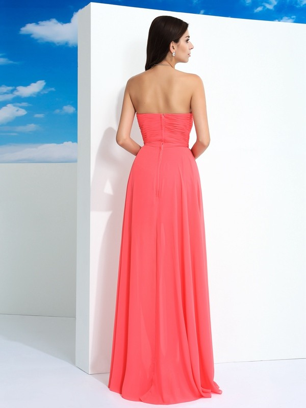 Nice Sheath Sweetheart Sleeveless Long Chiffon Dress