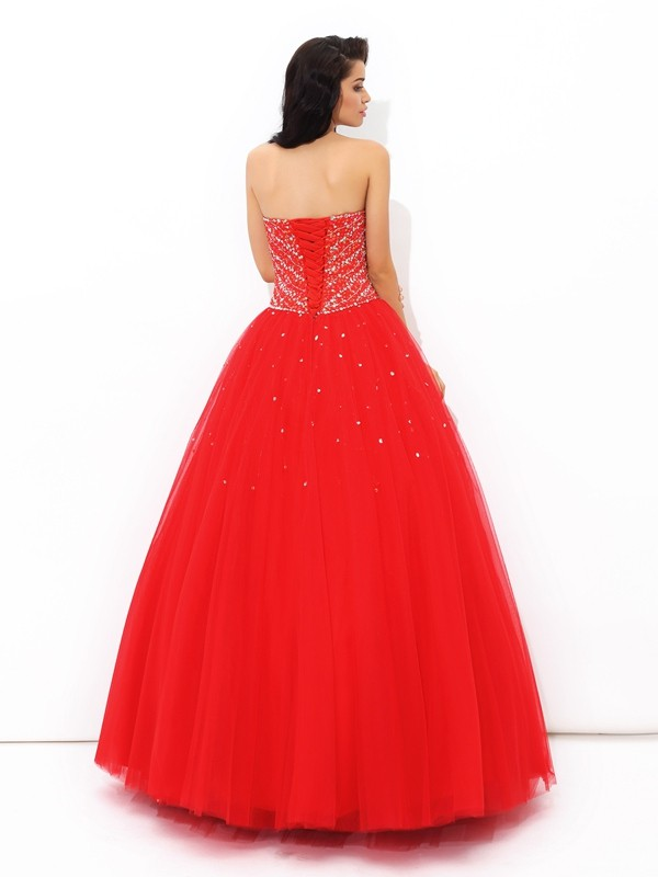 Nice Ball Gown Sweetheart Sleeveless Long Net Quinceanera Dress