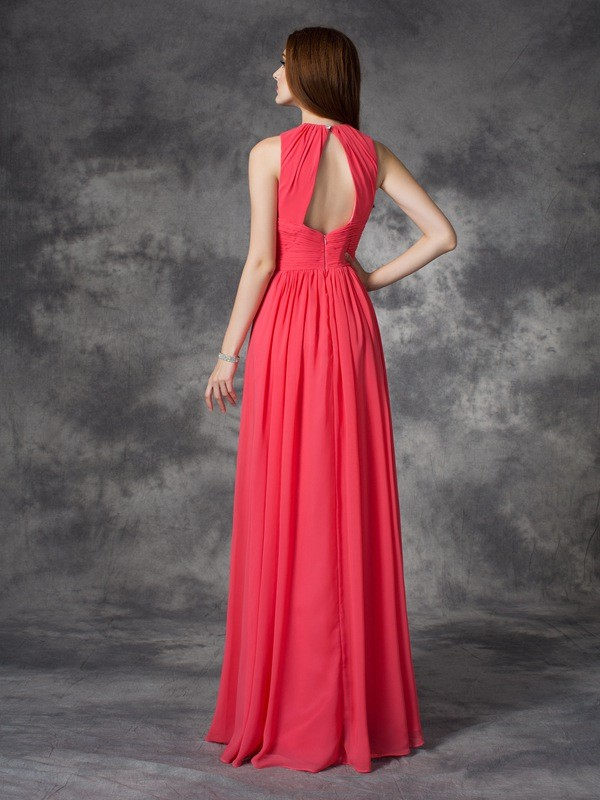 Nice A-Line Jewel Sleeveless Long Chiffon Bridesmaid Dress