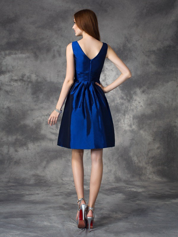 Nice A-Line V-neck Sleeveless Short Taffeta Bridesmaid Dress