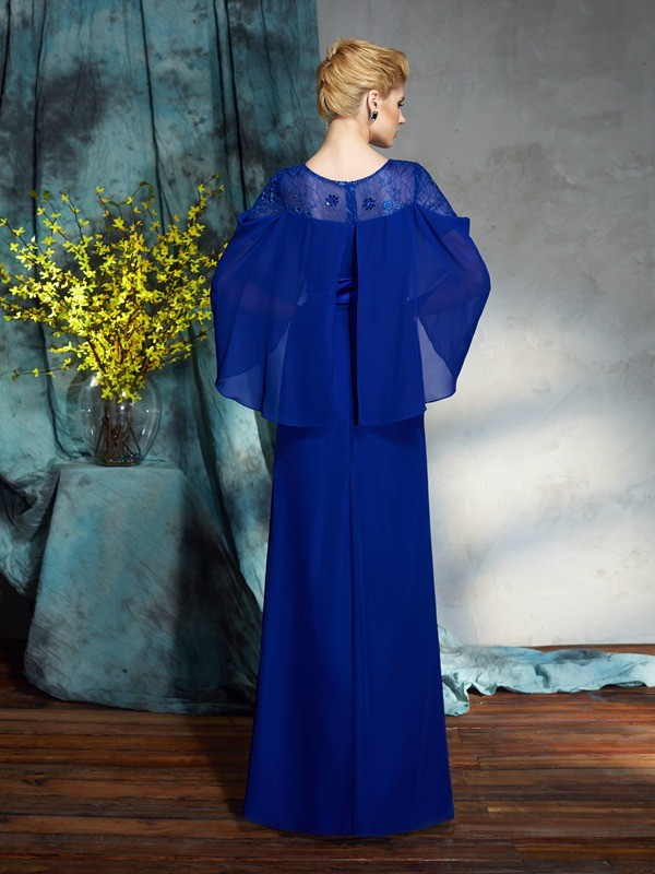 Amazing Sheath Bateau Long Sleeves Long Chiffon Dress