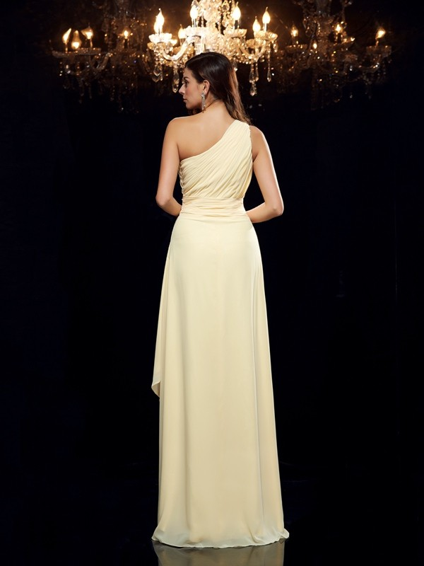 Glamorous A-Line One-Shoulder Sleeveless High Low Chiffon Dress