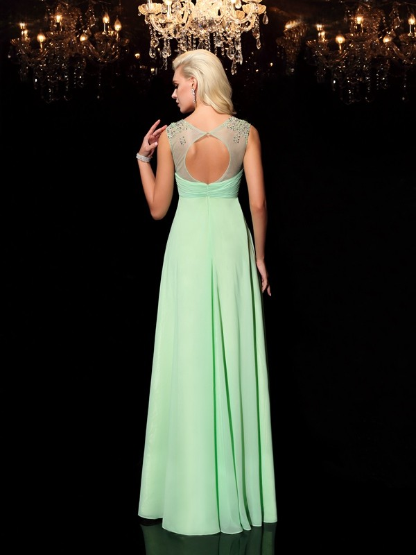 Glamorous A-Line Scoop Sleeveless Long Chiffon Dress