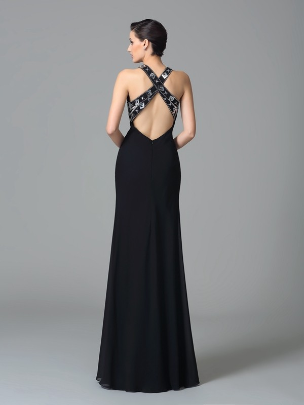 Glamorous Sheath Straps Sleeveless Long Chiffon Dress