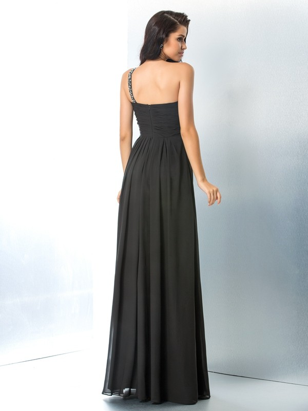 Glamorous A-Line One-Shoulder Sleeveless Long Chiffon Dress