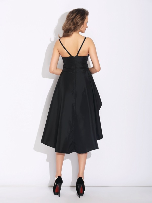 Glamorous A-Line Spaghetti Straps Sleeveless High Low Taffeta Dress