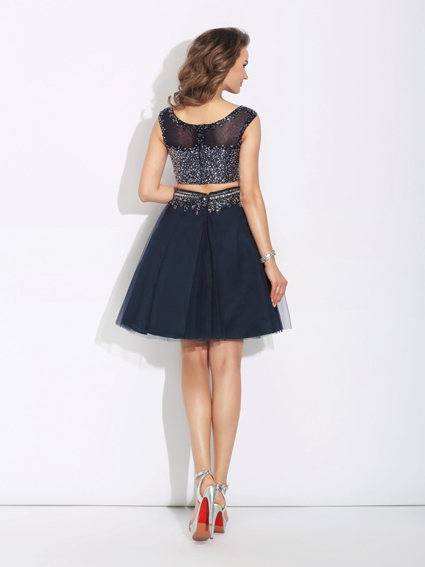 Glamorous A-Line Bateau Sleeveless Short Net Two Piece Dress