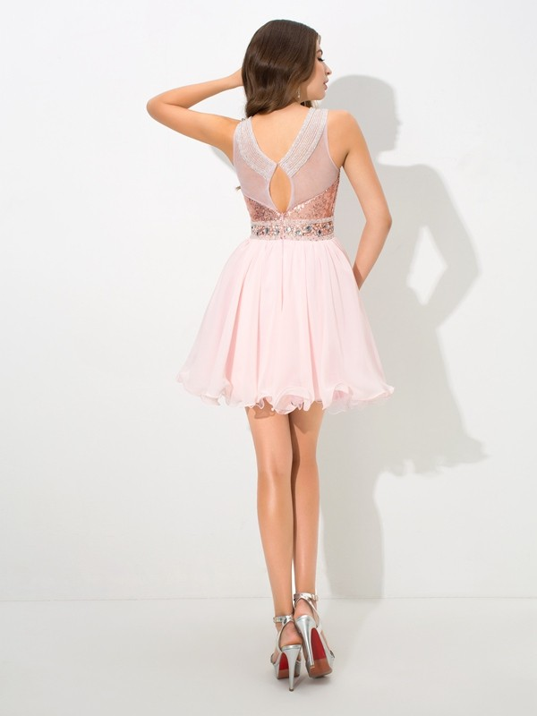Glamorous A-Line Sheer Neck Sequin Sleeveless Short Chiffon Cocktail Dress