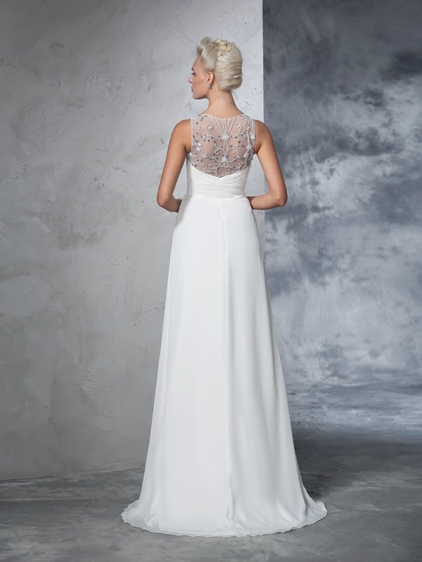 Glamorous A-Line V-neck Sleeveless Long Chiffon Wedding Dress