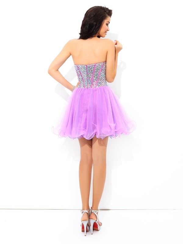 Glamorous A-Line Sweetheart Sleeveless Short Net Cocktail Dress