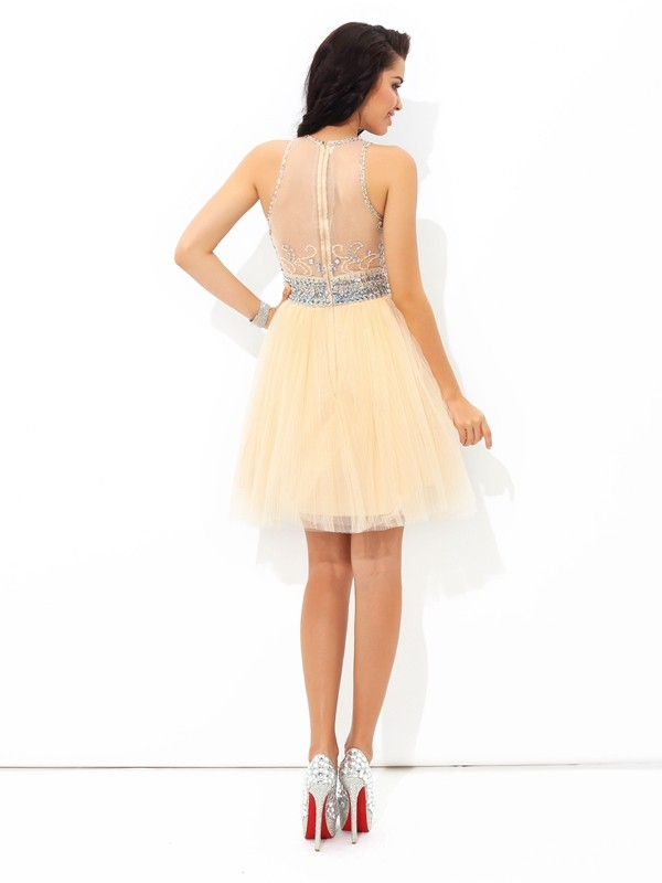 Glamorous A-Line Sheer Neck Sleeveless Short Net Cocktail Dress