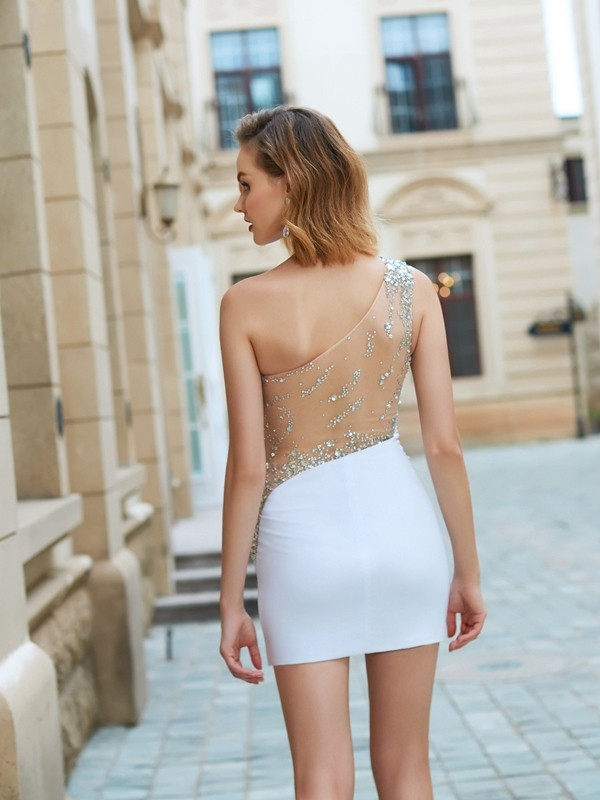 Beautiful Sheath One-Shoulder Sleeveless Short/Mini Net Dress