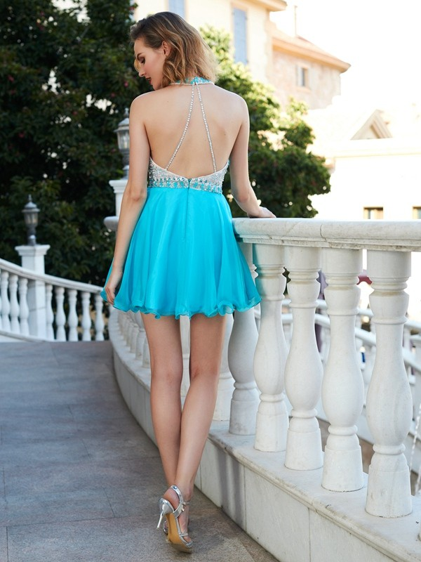 Beautiful A-Line Halter Sleeveless Chiffon Short/Mini Dress