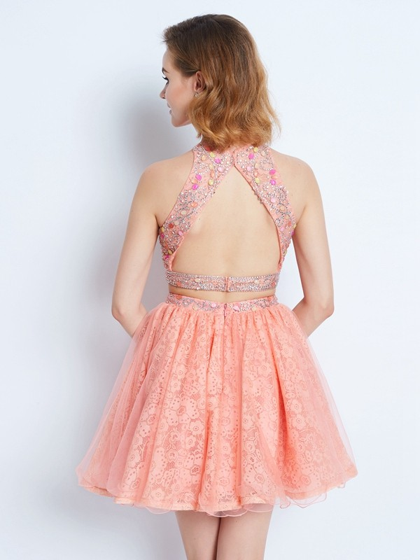 Beautiful A-Line Jewel Sleeveless Lace Short/Mini Two Piece Dress
