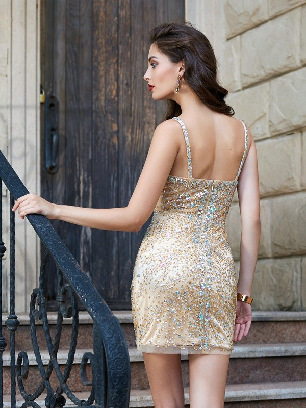 Beautiful Sheath Spaghetti Straps Net Sleeveless Sequin Short/Mini Dress