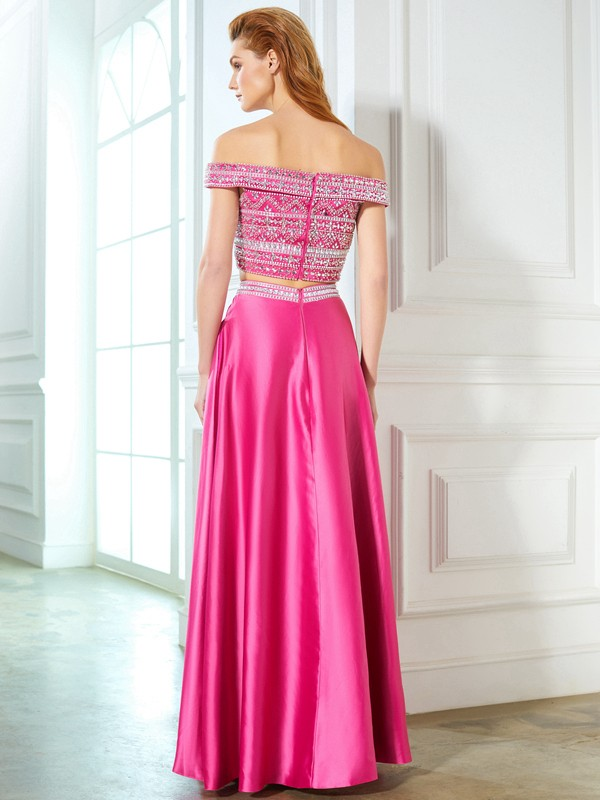 Beautiful A-Line Off-the-Shoulder Sleeveless Satin Floor-Length Two Piece Dress