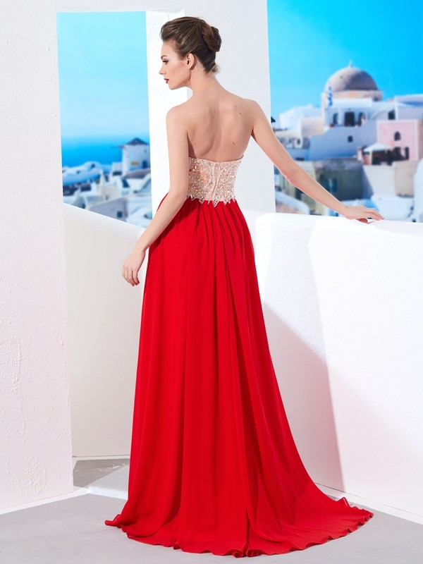 Affordable A-Line Strapless Sleeveless Chiffon Sweep/Brush Train Dress
