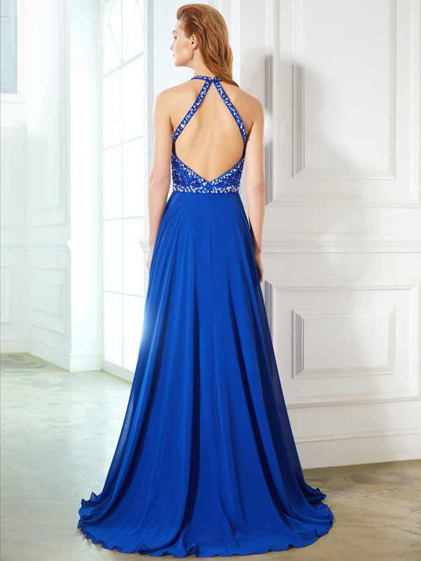 Beautiful A-Line Jewel Sleeveless Chiffon Sweep/Brush Train Dress