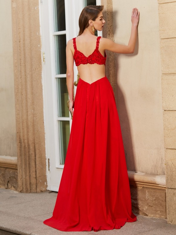 Affordable A-Line Straps Sleeveless Floor-Length Chiffon Dress