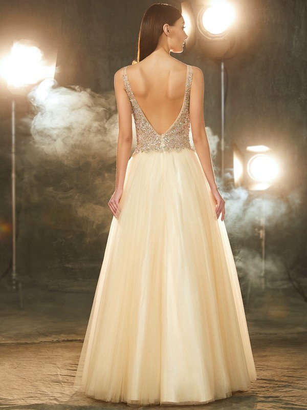 Best Ball Gown V-neck Sleeveless Floor-length Tulle Dress