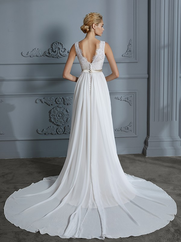 Unique A-Line Sleeveless V-neck Chiffon Court Train Wedding Dress
