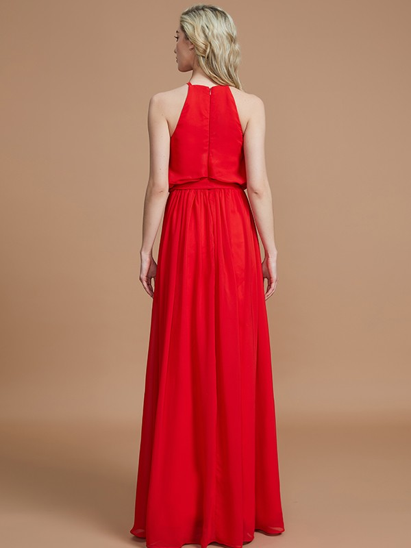 Gorgeous A-Line Halter Sleeveless Floor-Length Chiffon Bridesmaid Dress
