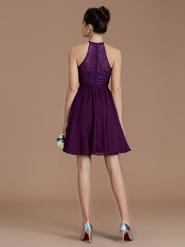 Fancy A-Line Halter Sleeveless Lace Short/Mini Chiffon Bridesmaid Dress