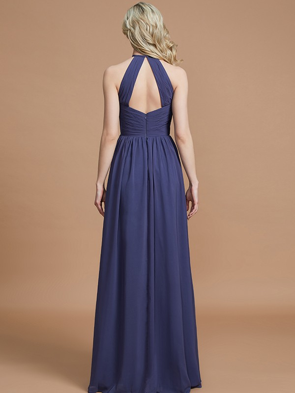 Gorgeous A-Line Scoop Chiffon Sleeveless Floor-Length Bridesmaid Dress