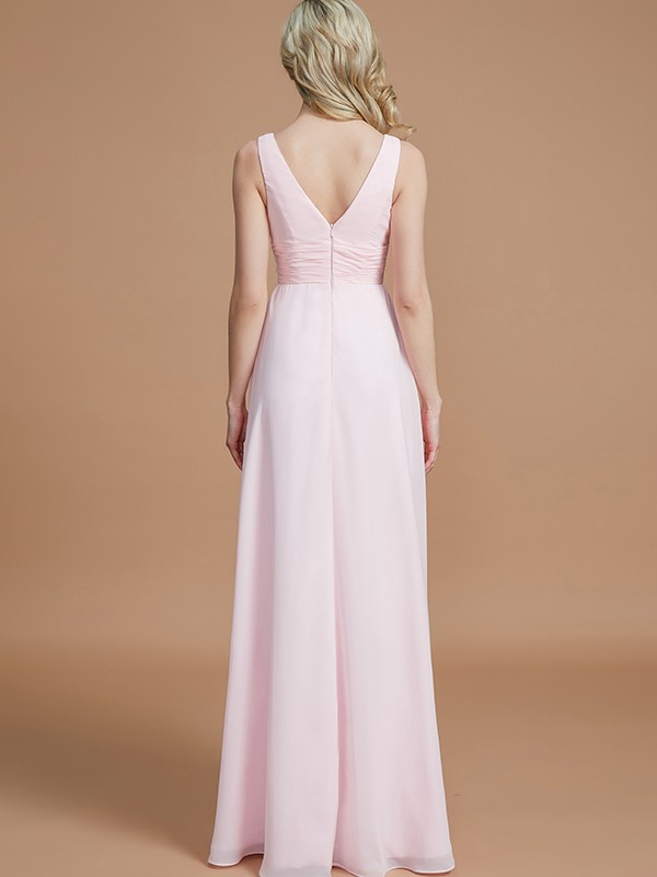 Gorgeous A-Line Sleeveless Floor-Length Chiffon V-neck Bridesmaid Dress