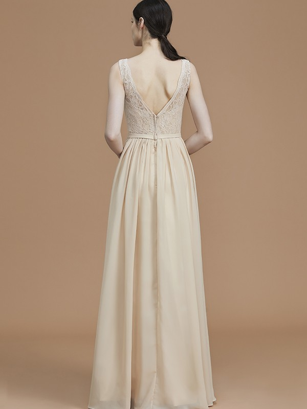 Glamorous A-Line V-neck Sleeveless Floor-Length Chiffon Bridesmaid Dress