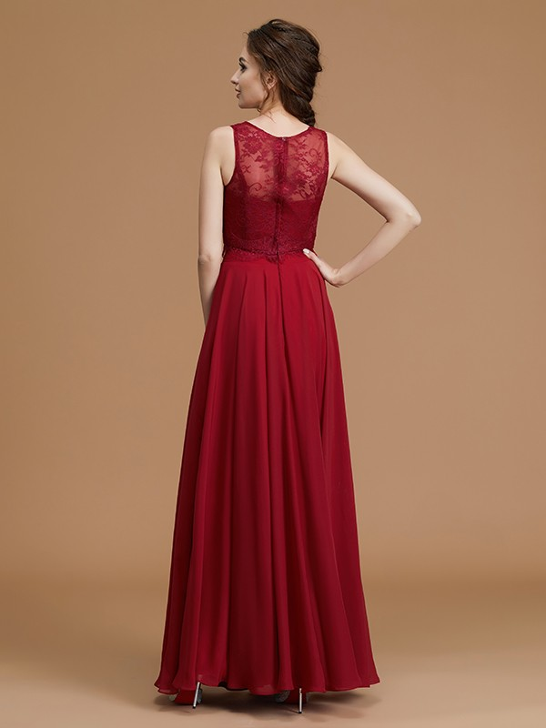 Amazing A-Line Bateau Sleeveless Floor-Length Chiffon Bridesmaid Dress