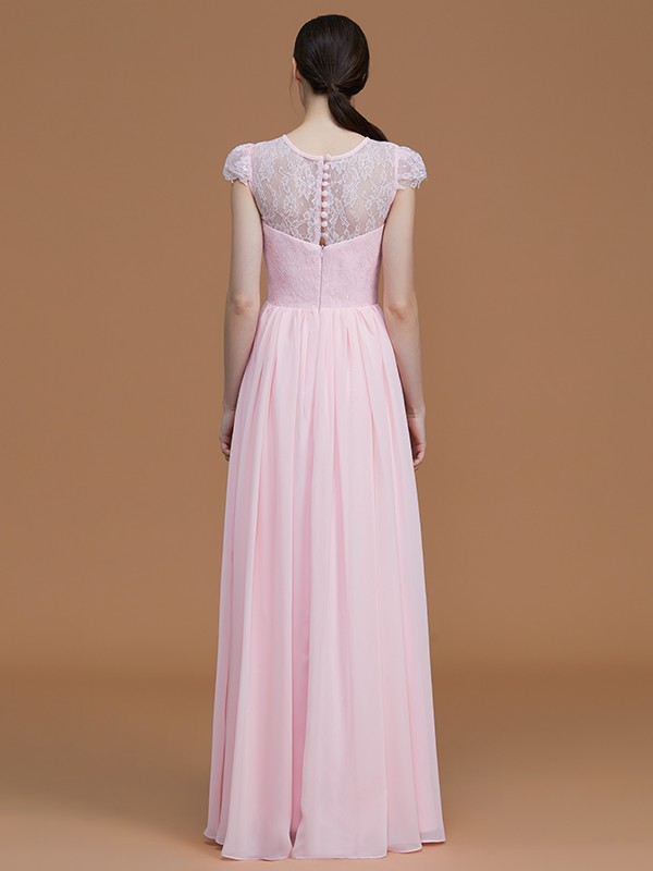 Fashion A-Line Jewel Short Sleeves Floor-Length Lace Chiffon Bridesmaid Dress