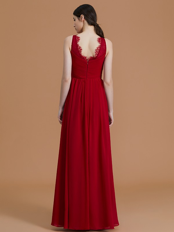 Unique A-Line V-neck Sleeveless Floor-Length Chiffon Bridesmaid Dress