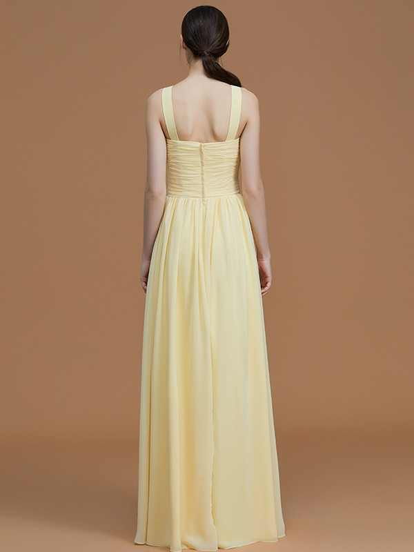 Affordable A-Line Halter Sleeveless Floor-Length Chiffon Bridesmaid Dress