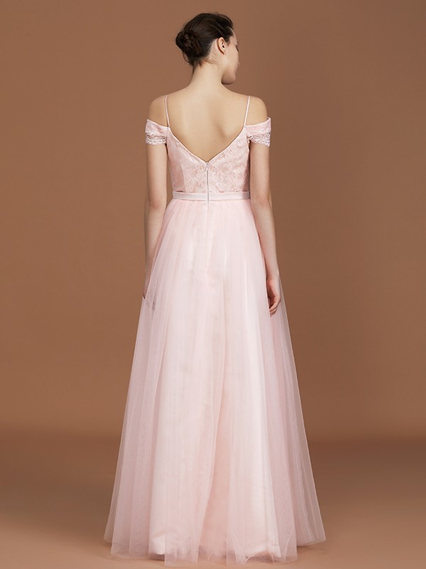 Elegant A-Line Short Sleeves Spaghetti Straps Sweetheart Floor-Length Tulle Bridesmaid Dress