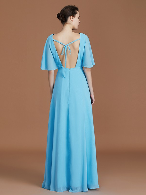 Gorgeous A-Line V-neck 1/2 Sleeves Floor-Length Chiffon Bridesmaid Dress