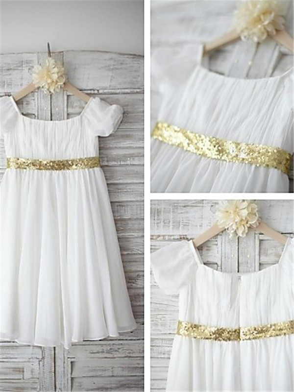 Chic A-line Bateau Short Sleeves Tea-length Chiffon Flower Girl Dress
