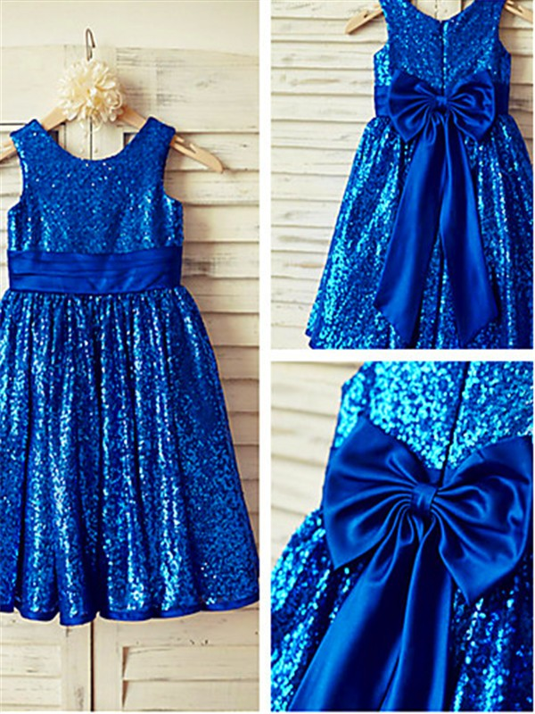 Charming A-line Scoop Sleeveless Tea-Length Sequins Flower Girl Dress