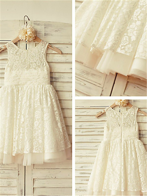 Gorgeous A-line Scoop Sleeveless Tea-Length Lace Flower Girl Dress