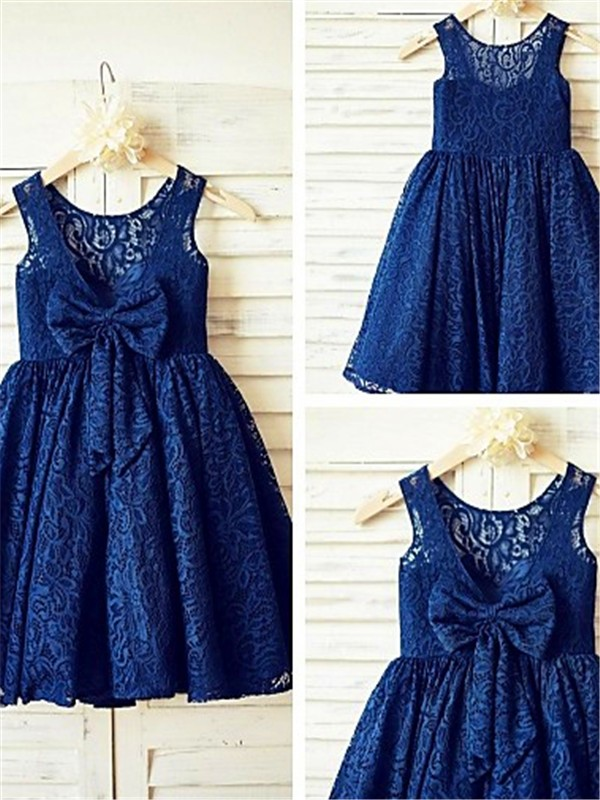 Stylish A-line Scoop Sleeveless Tea-Length Lace Flower Girl Dress