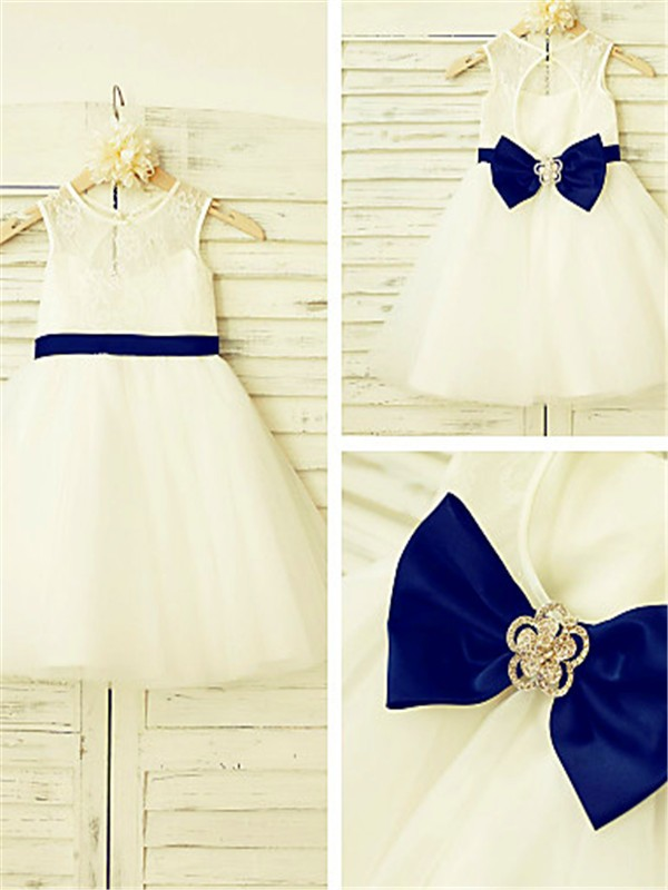 New A-line Scoop Sleeveless Tea-length Tulle Flower Girl Dress