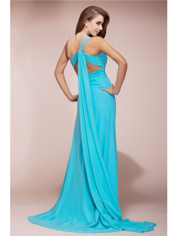 Hot Sale Sheath One Shoulder Sleeveless Slit Long Chiffon Dress
