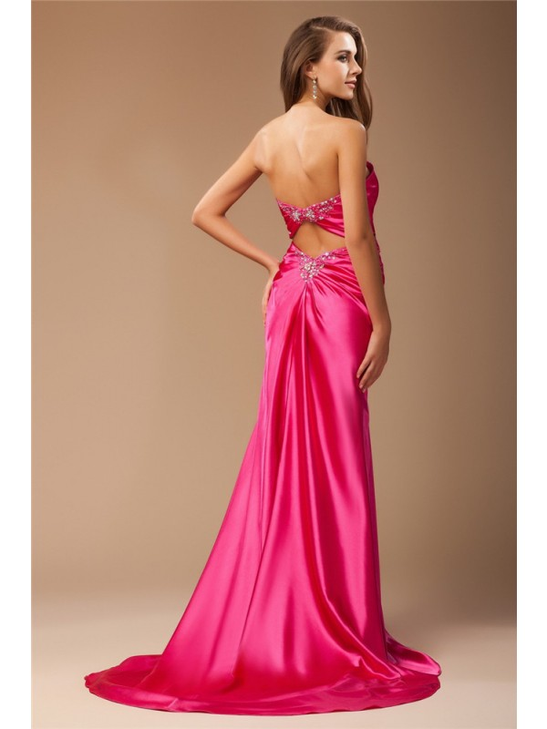 Hot Sale Mermaid Sweetheart Sleeveless Long Elastic Woven Satin Dress