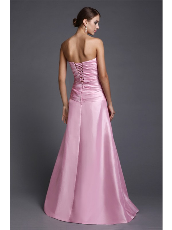 Modest A-Line Strapless Long Elastic Woven Satin Dress